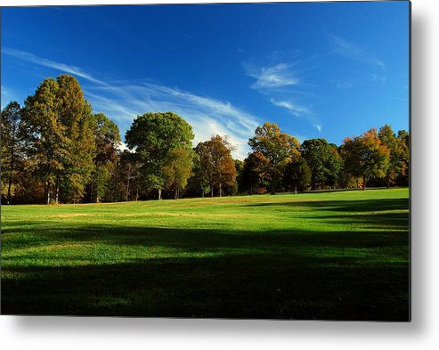 Fields Metal Print featuring the photograph Shadows And Trees Of The Afternoon - Monmouth Battlefield Park by Angie Tirado