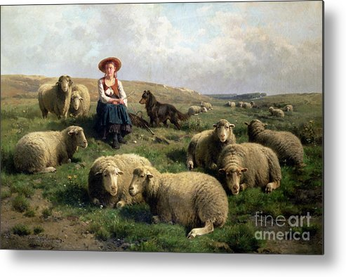 Shepherdess With Sheep In A Landscape By C. Leemputten (1841-1902) And Gerard Metal Print featuring the painting Shepherdess With Sheep In A Landscape by C Leemputten and T Gerard