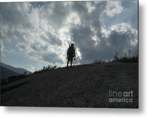 Silhouette Metal Print featuring the photograph Silhouette Of A Hiker On Middle Sugarloaf Mountain - White Mountains New Hampshire Usa by Erin Paul Donovan