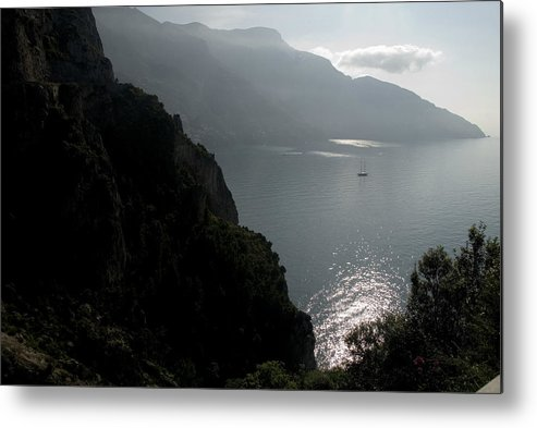 Amalfi Coast Metal Print featuring the photograph Silhouetted Mountains And Sea by Charles Ridgway