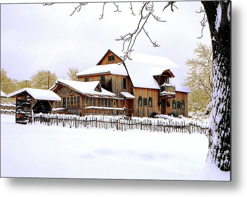 Barn Metal Print featuring the photograph Skyland Farms In Winter by Roger Soule