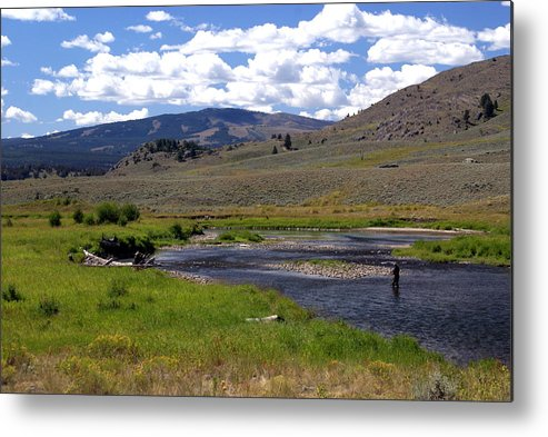 Yellowston National Park Metal Print featuring the photograph Slough Creek Angler by Marty Koch