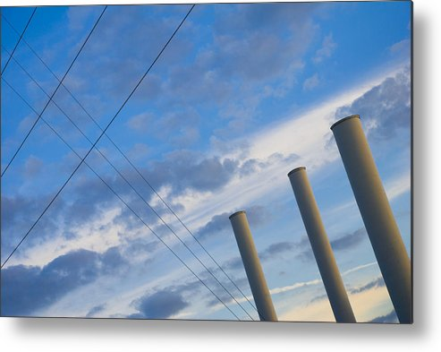 Blue Metal Print featuring the photograph Smoke Stax by Skip Hunt