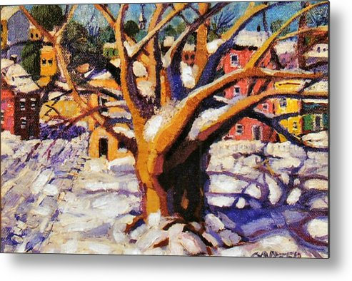 Urban Metal Print featuring the painting Snow Day by Jonathan Carter
