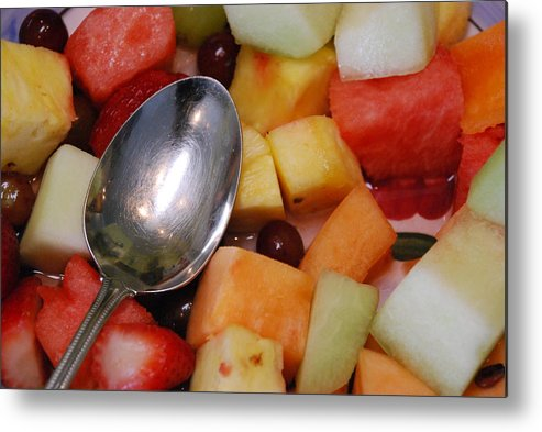 Abstract Metal Print featuring the photograph Spoon With Food by Michael L Gentile