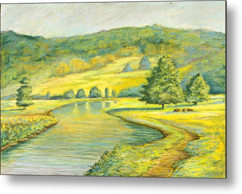 Landscape Metal Print featuring the pastel Spring Trail by Michael Scherer