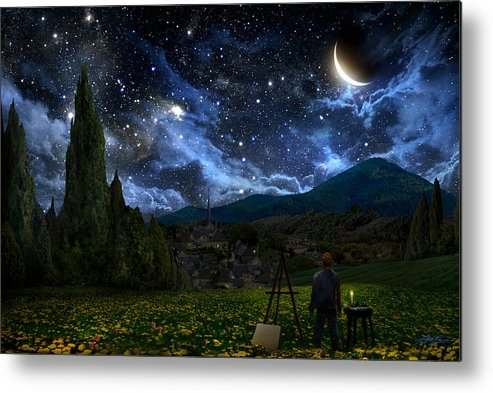 Van Gogh Metal Print featuring the digital art Starry Night by Alex Ruiz