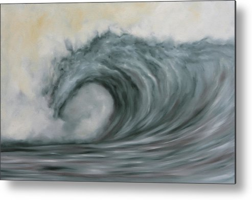 Waves Metal Print featuring the painting Storming The Beach by Kelly Headrick
