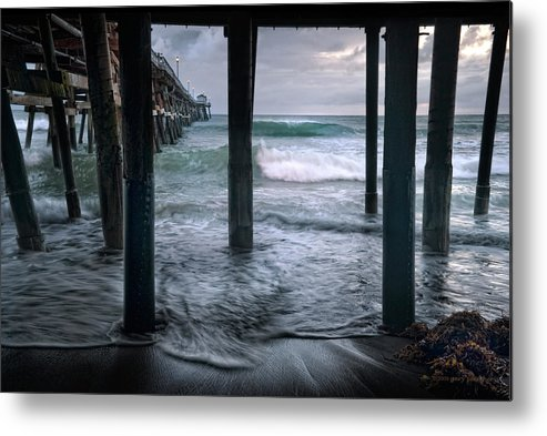 San Clemente Metal Print featuring the photograph Stormy Pier by Gary Zuercher