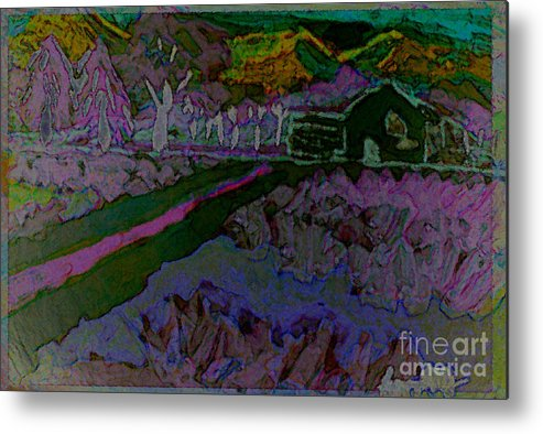 Landscape Metal Print featuring the painting Strawberry Fields by Ayyappa Das