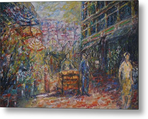 Street Metal Print featuring the painting Street Peddler - Kl Chinatown by Wendy Chua