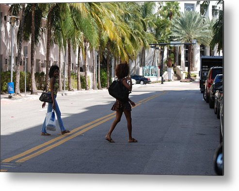Girls Metal Print featuring the photograph Street Walkers by Rob Hans