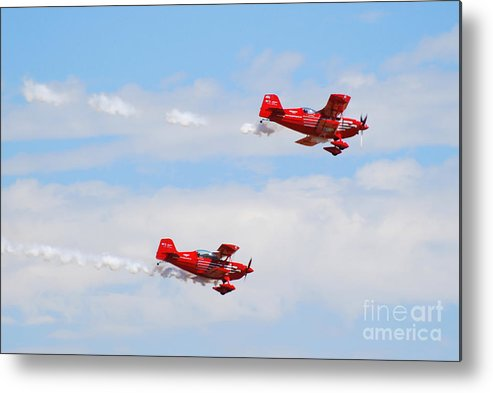 Stunts Metal Print featuring the photograph Stunt Pilots by Larry Keahey