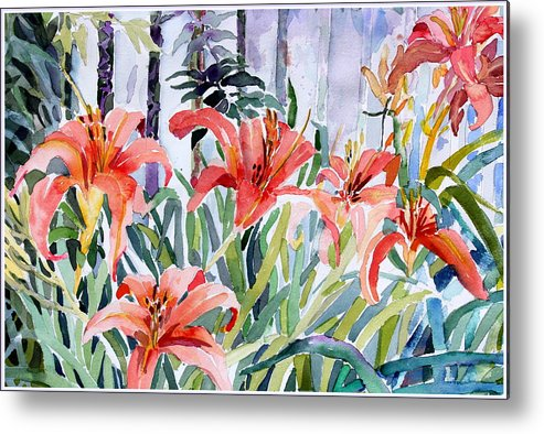 Day Lily Metal Print featuring the painting My Summer Day Liliies by Mindy Newman