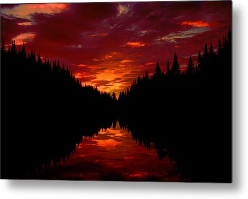 Silhouette Metal Print featuring the photograph Sunset Over Wetlands by Roger Soule