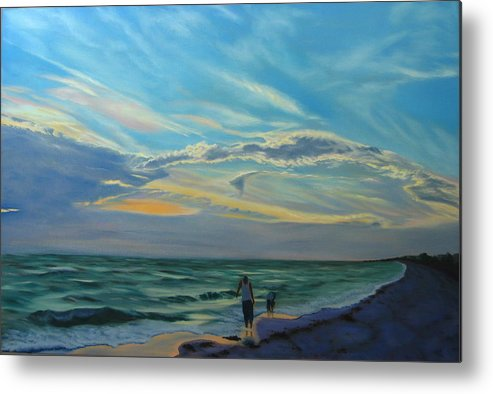Seascape Metal Print featuring the painting Sunset Treasure Hunt by Lea Novak