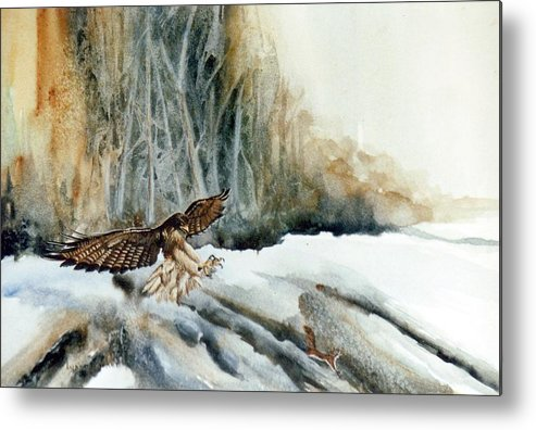 Redtail Hawk & Squirrel Metal Print featuring the painting Supper Maybe by Lynne Parker