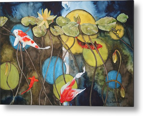 Abstract Metal Print featuring the painting Swimming In Circles by Jean Blackmer