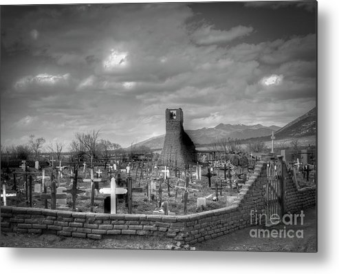 Black And White Photography Metal Print featuring the photograph Taos Pueblo Cemetery by David Waldrop