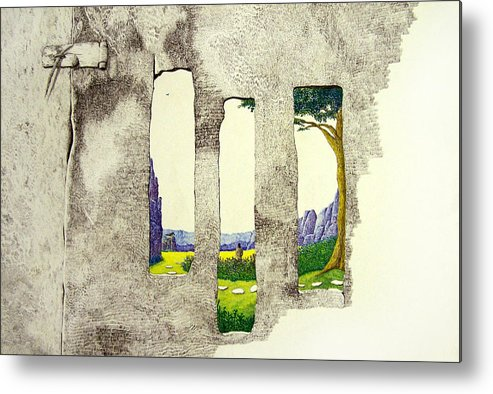 Imaginary Landscape. Metal Print featuring the painting The Garden by A Robert Malcom