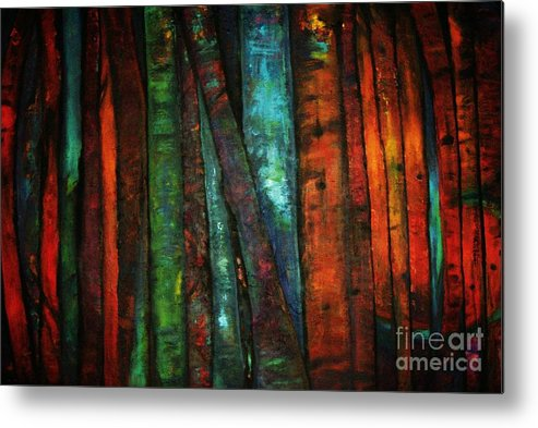 Trees Metal Print featuring the painting The Giants Two by Sidra Myers