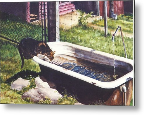 Cat Metal Print featuring the painting The Paws That Refreshes by Marion Hylton
