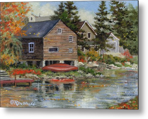 Autumn Metal Print featuring the painting The Red Canoe by Richard De Wolfe