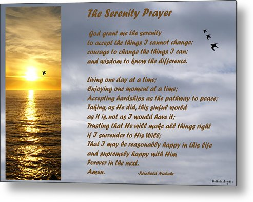 Barbara Snyder Metal Print featuring the digital art The Serenity Prayer by Barbara Snyder