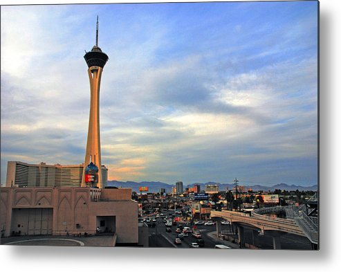Photography Metal Print featuring the photograph The Stratosphere In Las Vegas by Susanne Van Hulst