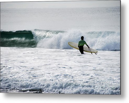 Beach Metal Print featuring the photograph The Yellow Surfboard by Joe Scoppa
