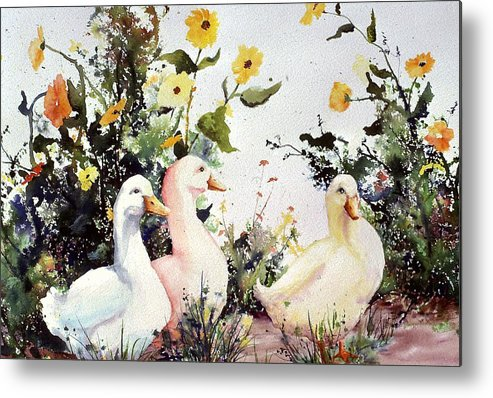 Animal Metal Print featuring the painting Through The Weeds Large by Connie Williams