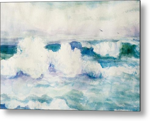 Pacific Ocean Metal Print featuring the painting Thundering Breakers by Ruth Mabee