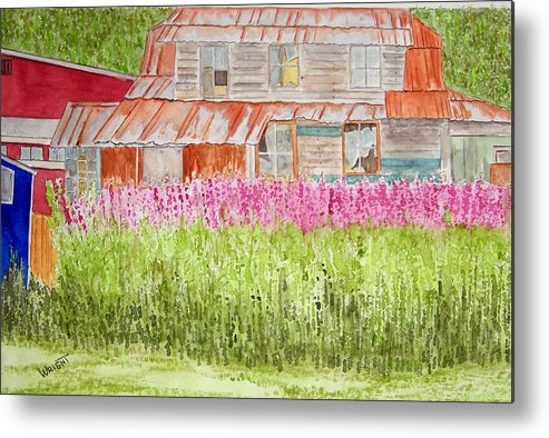 Architecture Metal Print featuring the painting Tlingit Home In Hoonah by Larry Wright