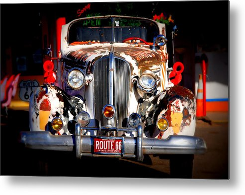 Route 66 Metal Print featuring the photograph Top Model On Route 66 by Susanne Van Hulst