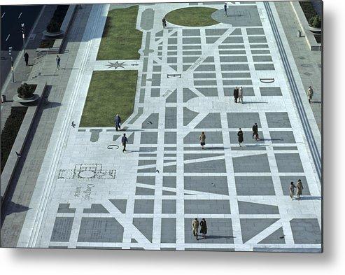Freedom Plaza Metal Print featuring the photograph Tourists Walking Along Freedom Plaza by Kenneth Garrett