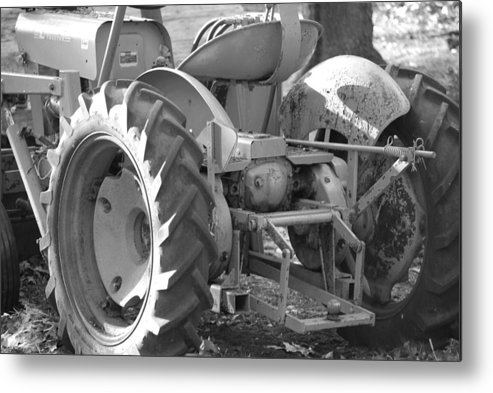 Tractor Metal Print featuring the photograph Tractor In Black And White by Peter McIntosh