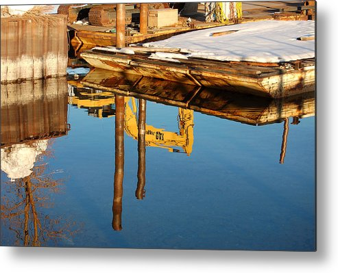 Photography Metal Print featuring the photograph Tractor Reflections by Heather S Huston