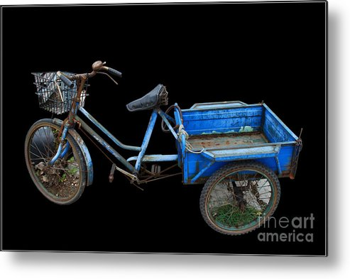 Tricycle Blue Old Bicycle Color Metal Print featuring the photograph Tricycle In Blue by Ty Lee