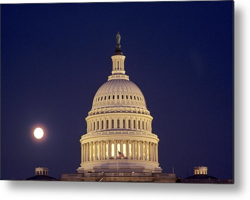 Cityscapes Metal Print featuring the photograph U.s. Capitol Building Lit by Kenneth Garrett