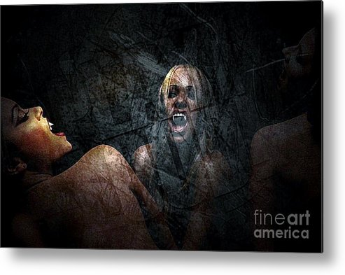Graphic Metal Print featuring the photograph Vampire by Solomon Aseoche