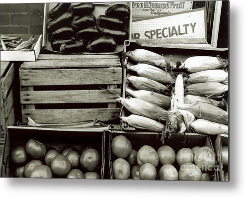 Silver Gelatin Print Metal Print featuring the photograph Veggies by Lai S Smith