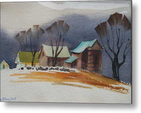 Green Mountains Of Vermont Artist. Green Hills Painters Metal Print featuring the painting Vermont Barns Sketch by Len Stomski