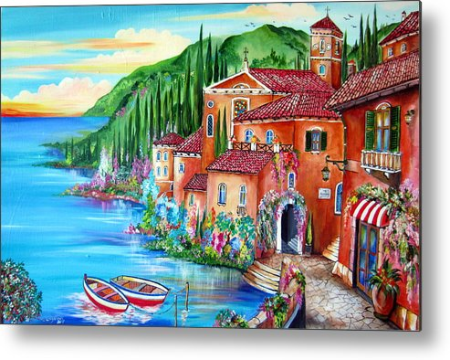 Village Metal Print featuring the painting Via Positano By The Lake by Roberto Gagliardi