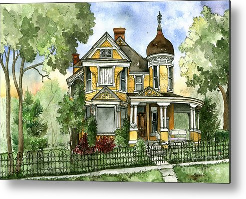 Victorian Metal Print featuring the painting Victorian In The Avenues by Shelley Wallace Ylst