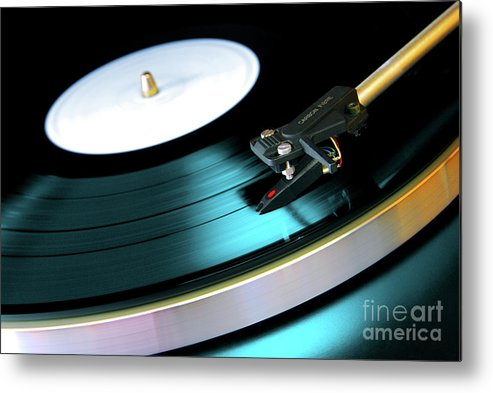 Abstract Metal Print featuring the photograph Vinyl Record by Carlos Caetano