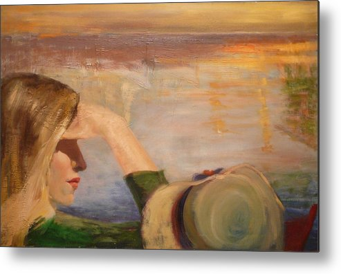 Side View Of A Girl Metal Print featuring the painting Watching The Sails by Irena Jablonski