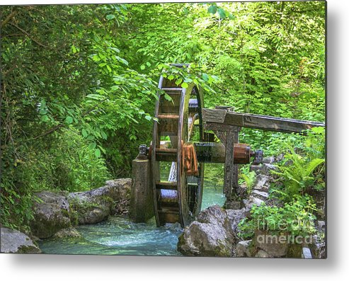 Water Wheel. Waterwheel Metal Print featuring the photograph Water Wheel In The Woods by Amy Sorvillo