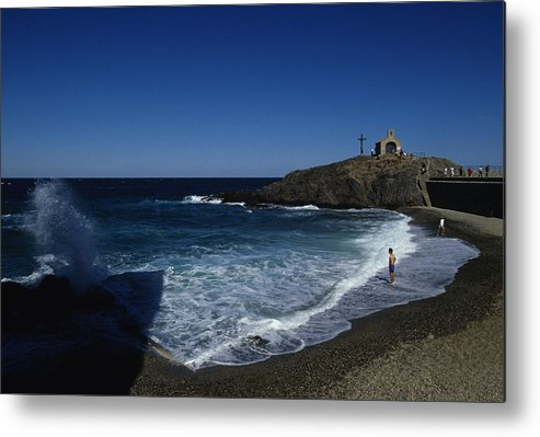 Collioure Metal Print featuring the photograph Waves Crash Onto The Beach by Stacy Gold
