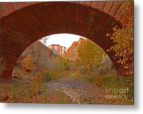 Utah Metal Print featuring the photograph West Temple From Pine Creek Bridge by Dennis Hammer