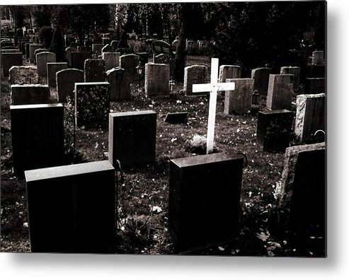 Cemetery Metal Print featuring the photograph White Cross by Jarmo Honkanen